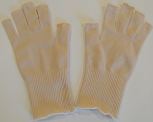 Stretchy Nylon Open Fingered Gloves Color Beige